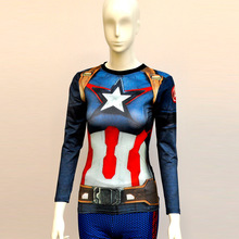 Womens Captain T Shirts Short Sleeve High Elastic Fast Dry Tops Super Hero Shirts Water Proof Sport Riding Outdoor Tops