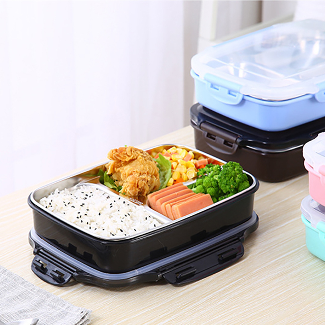 Portable Lunch Box with Stainless Steel Tray
