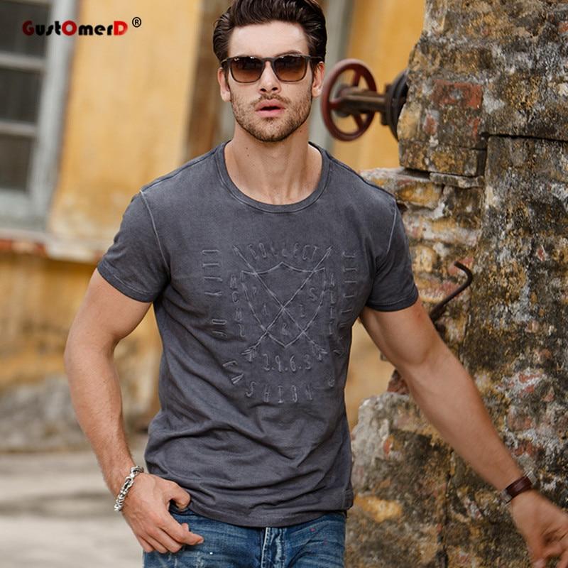 GustOmerd الأزياء القطن تي شيرت الرجال يتأهل قصيرة الأكمام المطبوعة قمم عالية الجودة ماركة الملابس رجل t قميص عارضة