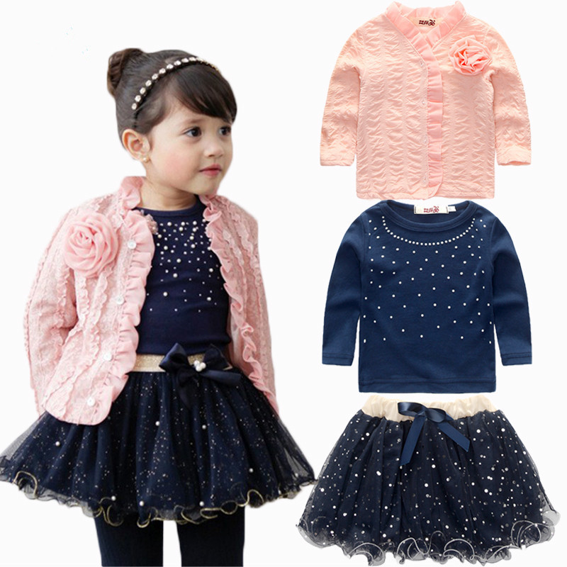 2018 New Spring Baby Girls Clothing Sets 3 Pieces Suit Girls Flower Coat + Blue T Shirt + Tutu Skirt Girls Clothes Free Shipping 2016 spring girls clothes girls clothing sets new arrival female child flower print o neck pullover short skirt set baby twinset