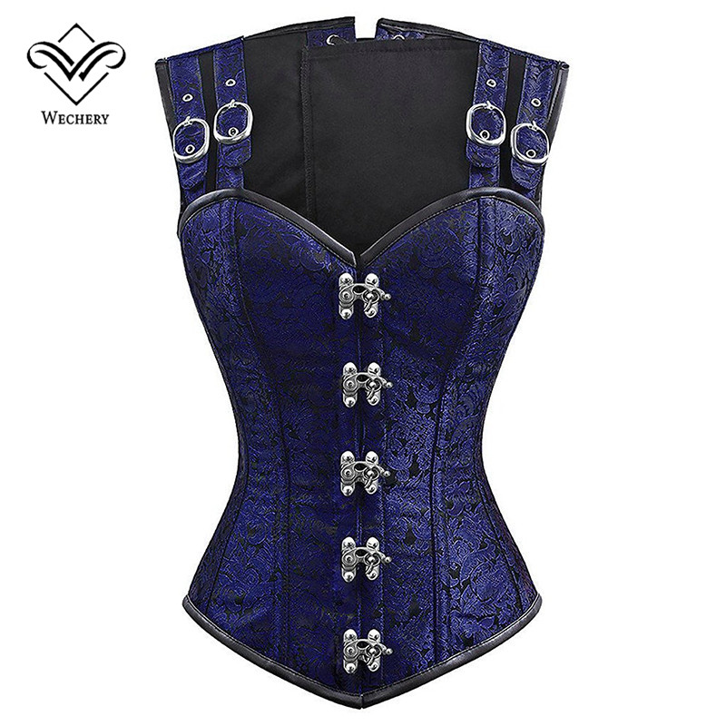 Wechery 12 Steel Bone   Corset   Vintage Steampunk Overbust Shaper Tops for Women Plus Size Blue Quality Sexy Slimming Costume