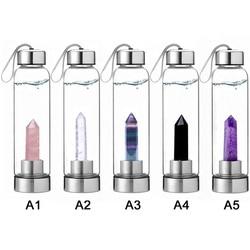 Kristal Alami Penyembuhan Obelisk Tongkat Kristal Kuarsa Botol Air Luar Ruangan Botol Air