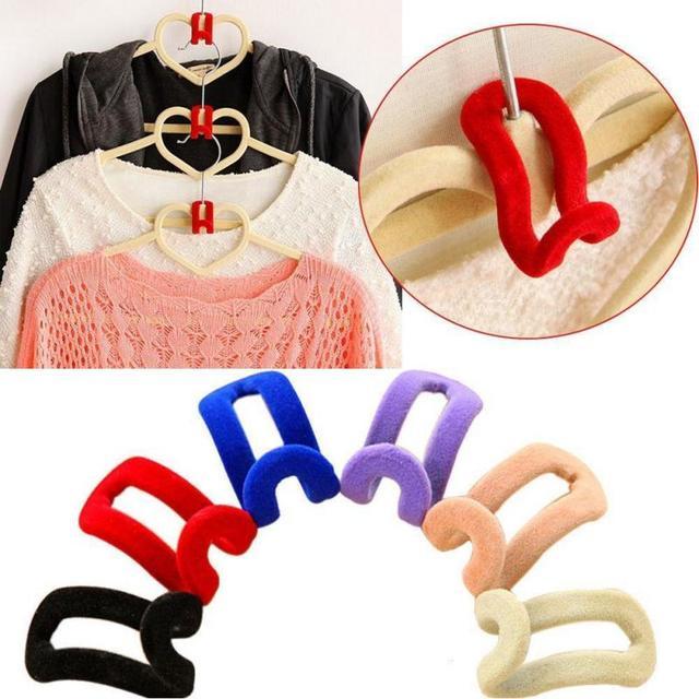 Creative 1 Pc Mini Flocking Hooks สำหรับแขวนเสื้อผ้าตู้เสื้อผ้าแบบพกพาสี Travel เสื้อผ้าตะขอแขวน #20