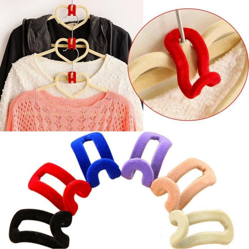 Creative 1Pc Mini Flocking Coat Hooks For Clothes Hanger Closet Organizer Potable Color Travel Clothes Hanging Hooks #20-in Hooks & Rails from Home & Garden