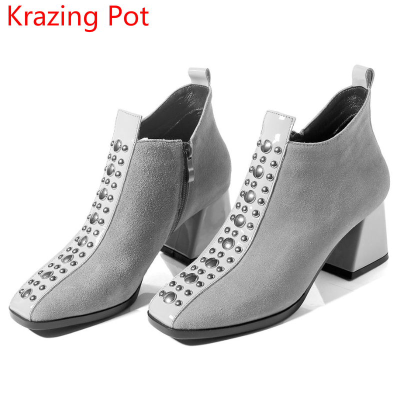 New Arrival Big Size Cow Suede Rivets Brand Winter Boots Thick Heel Square Toe Warm Party Causal Zipper Women Ankle Boots L02 sfzb new square toe lace up genuine leather solid nude women ankle boots thick heel brand women shoes causal motorcycles boot