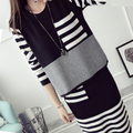 2016 new autumn and winter withe women sweater + skirt  two pieces suit