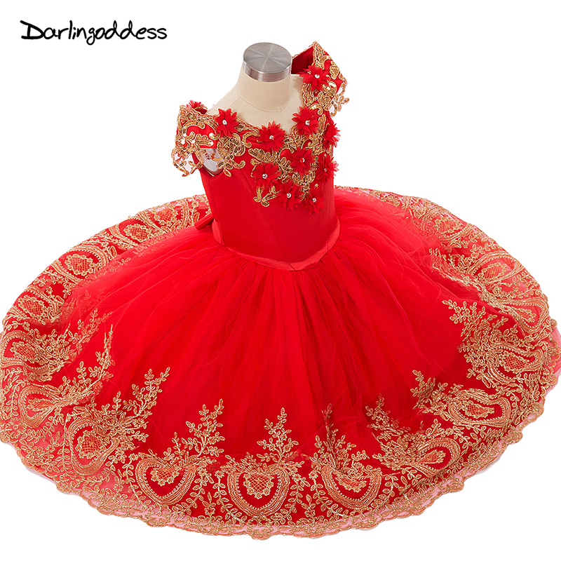 Princess Flower Girls Dresses For Wedding Party 2019 Floor Length With Gold Lace Toddler Kids Tulle Holy First Communion Dress