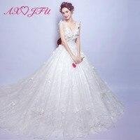 AXJFU Lace three dimensional flower princess bride wedding dress Luxury large tail wedding dress 2108