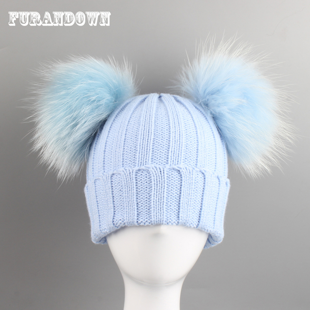 Double Fur Pompom Hat Winter Hat Children Skullies Beanies Winter Warm Cap  For Kids Fur Pom Pom Hats Girls Boys 61b703b5b