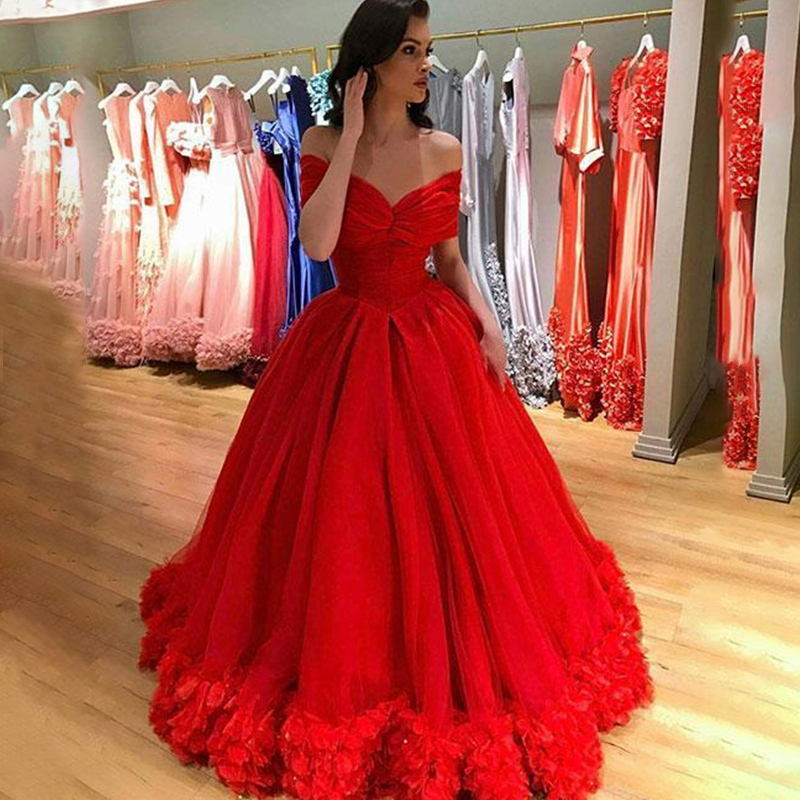 Off the Shoulder Long Red   Prom     Dresses   Pleated Ball Gown Flower Girl Sweep Train Evening Formal Party   Dress   Vestido De Fiesta
