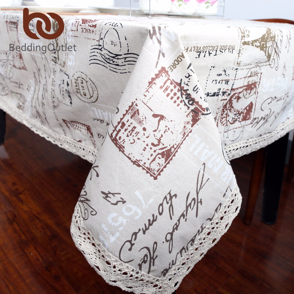 BeddingOutlet Eiffel Tower And Words Tablecloth Dinner Table Cloth Cotton Linen Multi Sizes Lacy Table Cover Macrame Washable