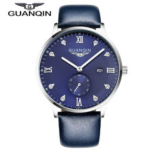 GUANQIN GQ13001 Bauhaus minimalism quartz men's watch luminous leisure calendar waterproof blue Leather strap