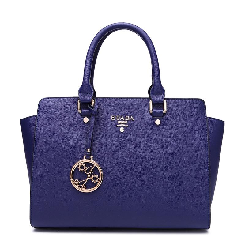 Fashion Women Tote Bag Trapeze Handbags Top Grade Genuine Leather Ladies Shoulder Bags Crossbody Bags For Women Zipper Hard Blue