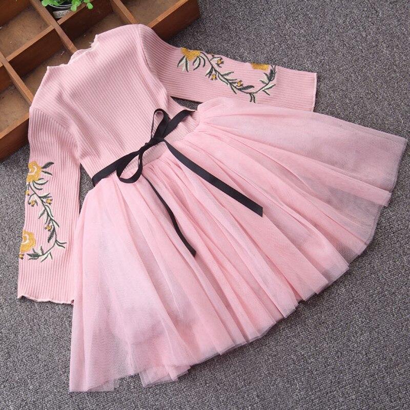 bf578274 Vestido de niña bordado de flores de primavera ropa de niños de manga  acampanada ropa de fiesta de princesa vestido de baile 2 colores 3-10Y