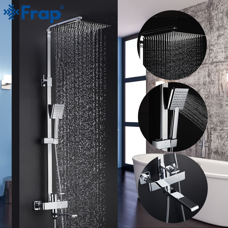 Frap Shower Faucets Top Quality Contemporary Bathroom Shower Faucet Bath Taps Rainfall Shower Head Set Mixer Torneira