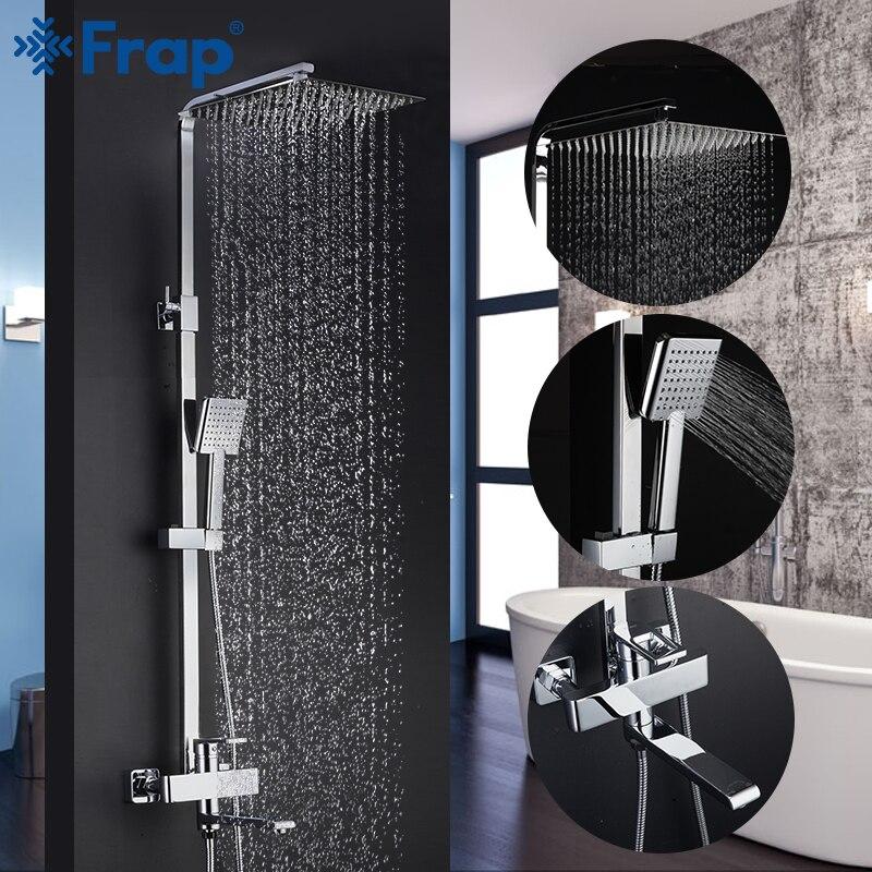 Frap robinets de douche de qualité supérieure salle de bain contemporaine robinet de douche robinets de bain pluie pomme de douche ensemble mélangeur Torneira|Robinets de douche| |  -