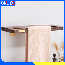 Bathroom Towel Ring Holder Brass Wood Rack Hanging Wall Mounted Toilet Bar Hotel Accessories