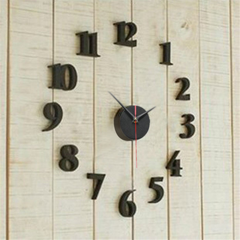 Creative Home Decor DIY Self Adhesive Decal Modern Wall Digit Number Room  Interior Clock Decoration Clock Wall Art Decals MM3