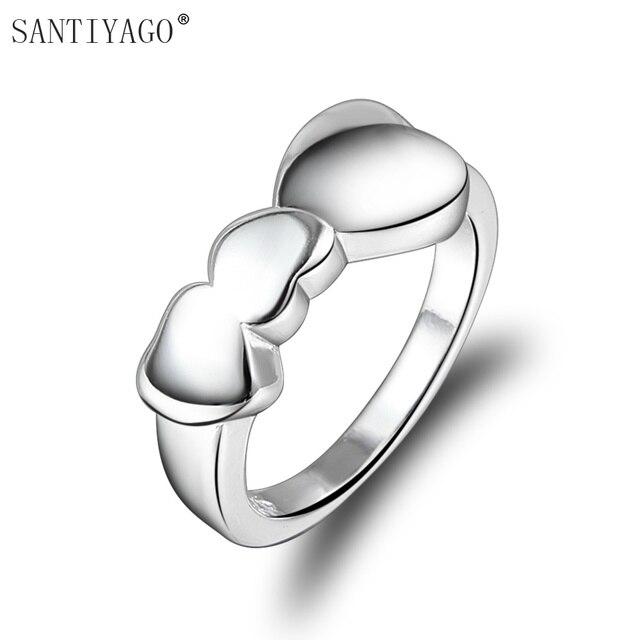 f97b623e2162 € 1.12 49% de DESCUENTO Mujeres de la manera de plata plateó las mujeres  del amor del corazón de Bling anillo de bodas regalo de Navidad las ...