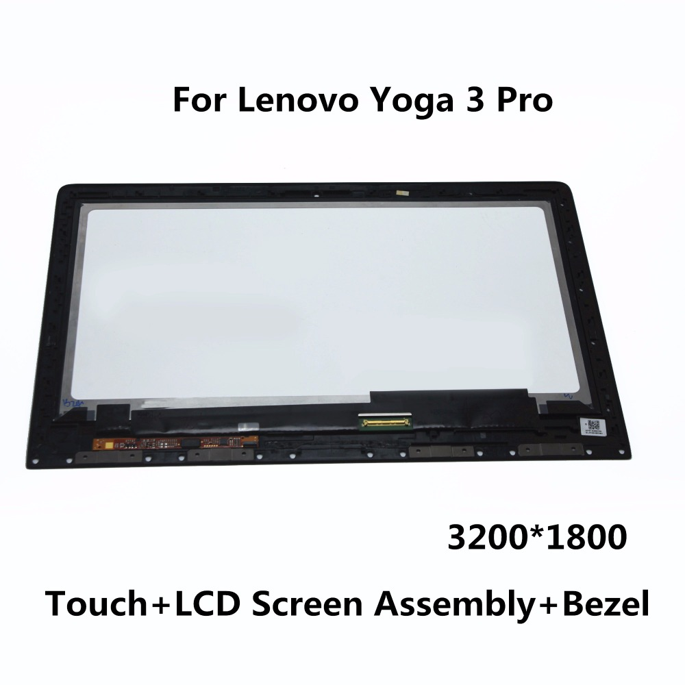 13.3LCD Touch Screen Digitizer Assembly + Bezel panel LTN133YL03-L01 LTN133YL01 For Lenovo Yoga 3 Pro 1370 80HE00F5US 3200*1800 lcd screen assembly for apple iphone 4 4g lcd display touch screen digitizer pantalla with frame bezel replacement black white