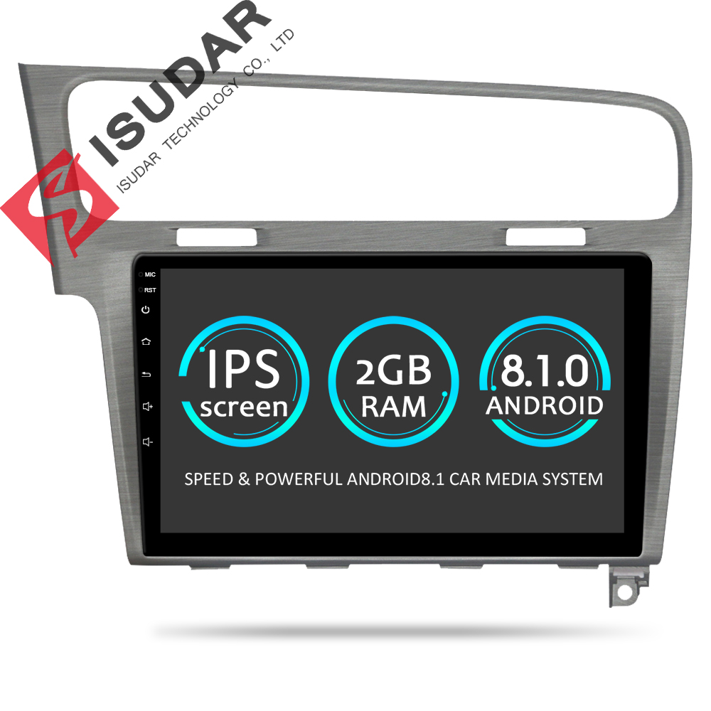 Isudar Car Multimedia Player 1 Din DVD Automotivo Android 8.1 For VW/Volkswagen/Golf 7 GPS Quad Core RAM 2GB ROM 16GB Radio FM рюкзак solo solo mp002xw1gl25