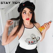 STAY TIDY Cute Girls Cartoon Print Backless Crop Top Sexy Off Shoulder Lace Up Camisole Tops Streetwear Female 2019 Summer Camis off shoulder lace up crop top