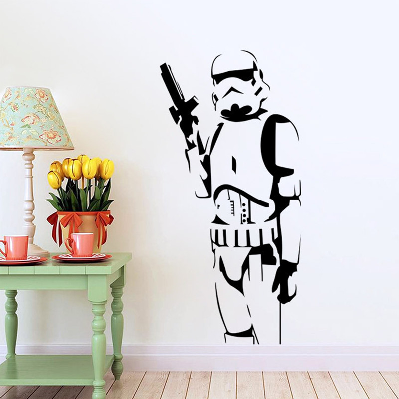 Star Wars Carved Wall Stickers With Transfer Film Darth Vader Poster For Boys Kids Room Home Decor Decal Hot Cartoon Movie Mural