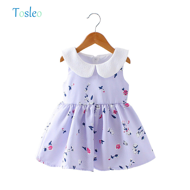 Baby Girl Dress Summer Floral Printed Dress for Kids Girl Summer Baby Clothes Pink Purple 1-3Y 2018