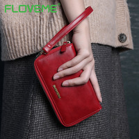 FLOVEME Real Leather Wallet Case For IPhone 6 6S Plus Long String Vintage Handbag Independent Phone