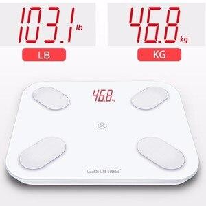 Image 5 - GASON S4 مقياس الدهون في الجسم الطابق العلمية الذكية الإلكترونية LED الوزن الرقمي الحمام التوازن بلوتوث التطبيق أندرويد أو IOS