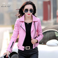 2017 women's spring autumn slim motorcycle leather clothing women's sheepskin jacket coat female Jaqueta de couro veste en cuir