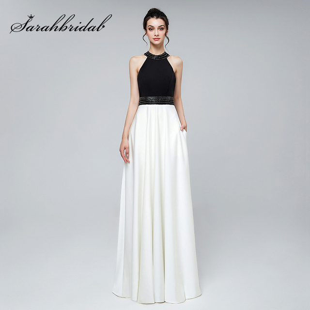 Simple Black White Elegant Evening Dresses with Beading Satin O-Neck Zipper  Back Gala Party Dress Formal Women Prom Gowns L3122 d5d6d37385a8