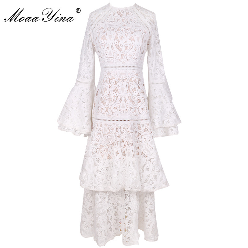 MoaaYina Fashion Designer Runway Dress Autumn Winter Women's Flare Sleeve White Lace Cascading Ruffle Dresses High Quality