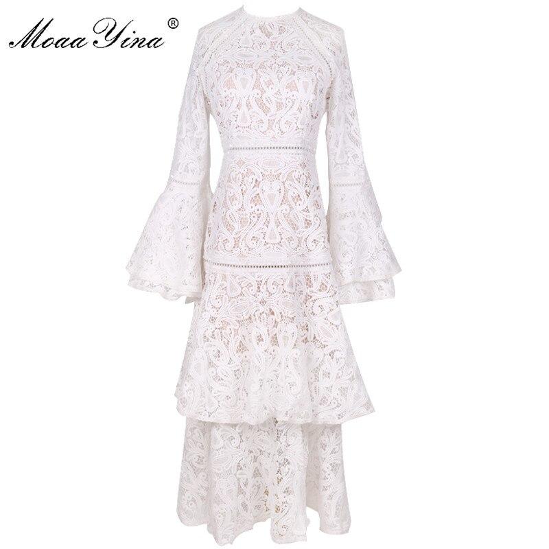 MoaaYina mode Designer robe de piste automne hiver femmes manches évasées dentelle blanche en cascade à volants robes de haute qualité