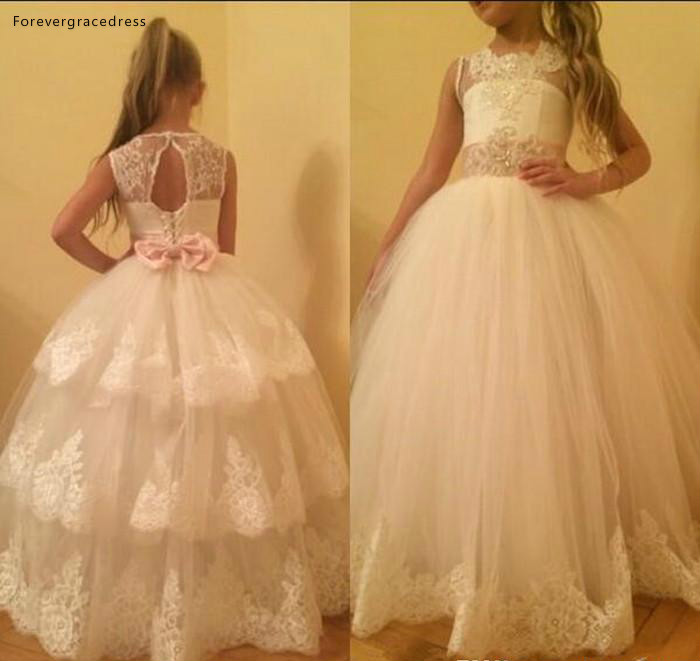 White Lovely Cute   Flower     Girl     Dresses   Princess Tutu Appliqued Daughter Toddler Pretty Kids Formal First Holy Communion Gowns