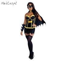 Костюм с Бэтменом для женщин девушки Хэллоуин сексуальное платье с накидкой маска карнавала Женский Необычные классные черные Стиль Коспл...