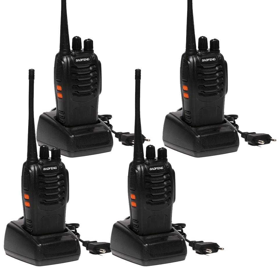 4pcs Baofeng BF-888S Walkie Talkie 5W Handheld bf 888s UHF 5W 400-470MHz 16CH Two Way Portable Scan Monitor Ham CB Radio