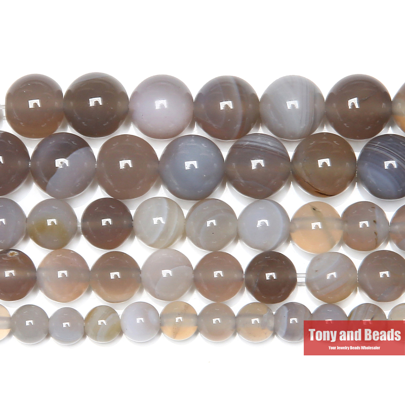 Free Shipping Natural Stone Banded Grey Lace Agates Round Semi-Precious Beads 15