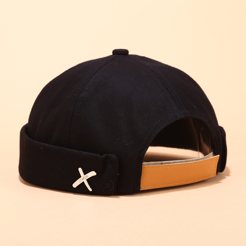 Retro Brimless cap Skullcap Hat Adjustable Landlord Breathable   Beanie   Hat Sailor Cap Vintage Hip Hop Men Caps Hat with Letter X