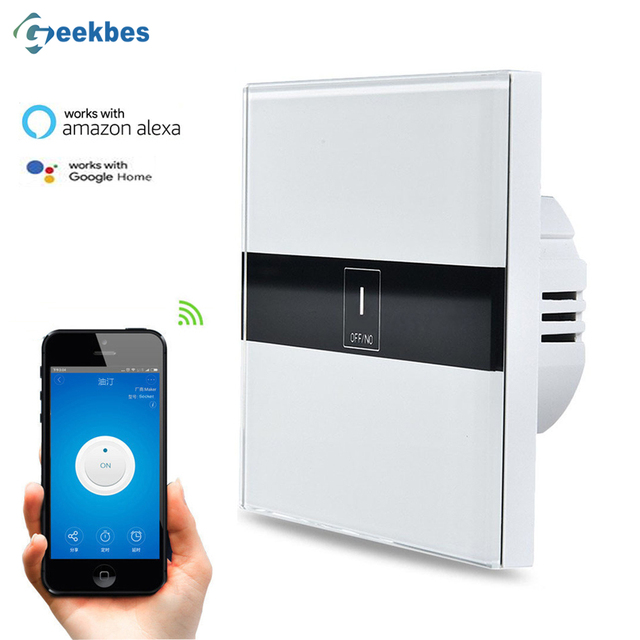 Geekbes El Eu Wifi Switch Touch Gl Panel Smart Remote Control Light Work With Alexa Google Home Voice Controlled