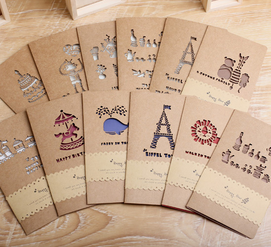 12pcs/lot Vintage exquisite brief cutout greeting card commercial Christmas birthday greeting card  holiday cards