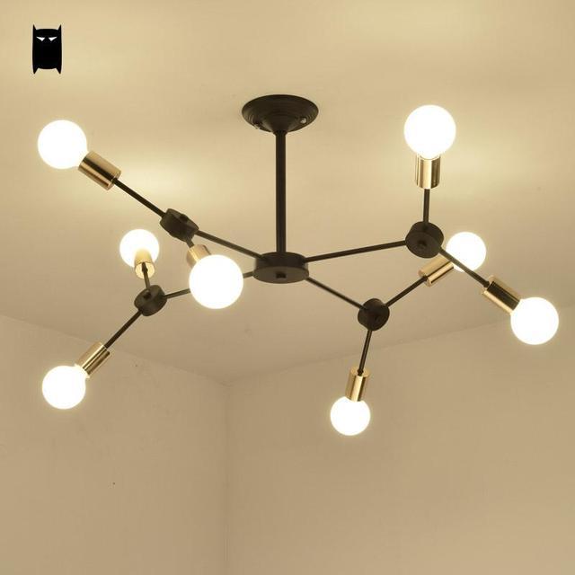 Noir Forge Fer Branche Adn Plafond Luminaire Moderne Vintage Industriel Nordique Suspension Lustre Lit Salon Salle