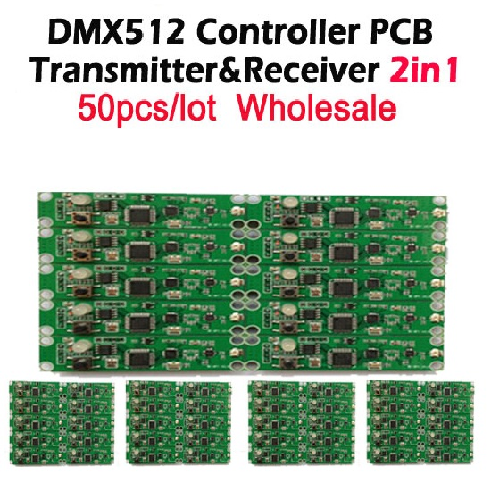 DHL Free shipping 50pcs 2in1  wireless dmx 512 Controller transmitter & receiver PCB module LED DMX Stage Lighting Controllerlight weight double strollercontrol lights with computerlight sling -