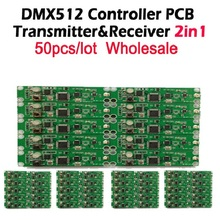 DHL Free shipping 50pcs 2in1  wireless dmx 512 Controller transmitter & receiver PCB module LED DMX Stage Lighting Controller