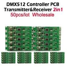 Dhl frete grátis 50 pçs 2in1 sem fio dmx 512 controlador transmissor & receptor módulo pcb led dmx iluminação de palco controlador