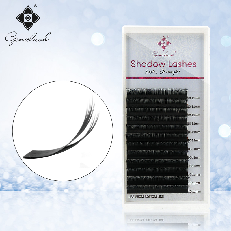 лучшая цена Genie Shadow lashes individual lashes double curl and length Faux Mink Fit for volume Eyelash Extension make up eye lashes