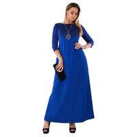 Zmvkgsoa 5XL 6XL Robe Autumn Big Sizes Elegant 3 4 Sleeve Maxi Dress Women Office Long