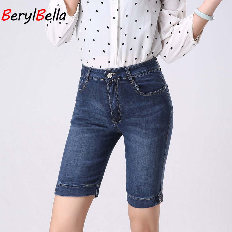 New Hot Plus Size Skinny Capris Jeans Woman Female Stretch Knee Length Denim Shorts Jeans Pants Women With High Waist Summer термопот sakura sa 353wb white blue