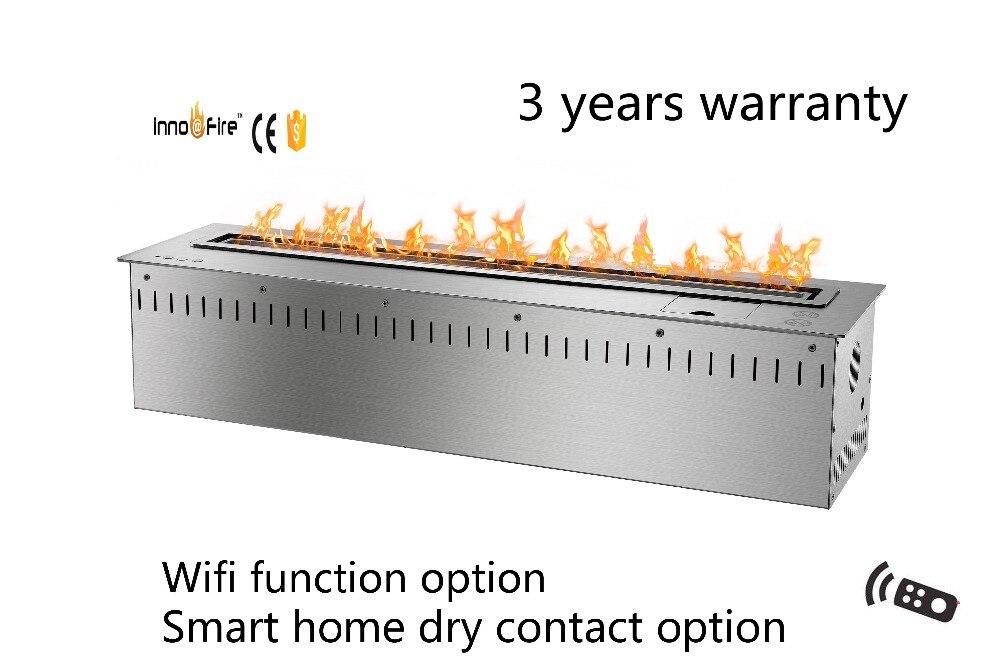 30 Inch Long Remote Control Intelligent Black Or Silver Ethanol Smart Burner