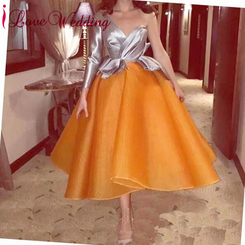 iLoveWedding New Fashion 2019 Half Long Sleeves Formal Dress Custom made Orange Cocktail Dresses Party